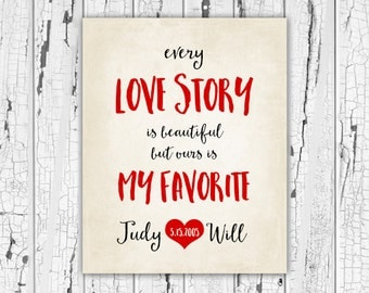 Every Love Story, Love Quotes Engagement Gift Wedding Shower Decoration, Valentines Day Gift for Him or Her Boyfriend Gift, Sister, Daughter
