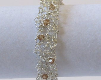 Knitted wire and Swarovsky crystal bracelet