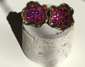 Shimmering earrings in purple/pink/orange,