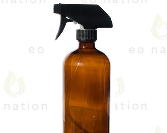 Large 16 oz Amber Spray Bottle Perfect for Storing DIY Cleaners, Room & Linen Sprays and More