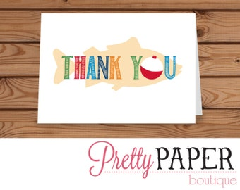 Gone Fishing Birthday Thank You Card - Instant Digital Download