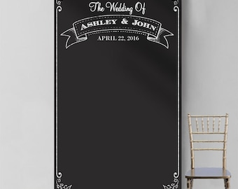 Personalized Chalkboard Banner Photo Booth Backdrop (MICPCHBP247)