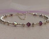 Amethyst Swarovski Crystals and Beads Bracelet Amethyst Crystal Bracelet Crystal and Silver Bracelet Crystal and Bead Bracelet