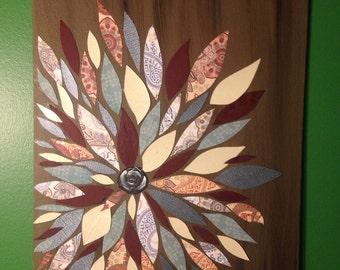 Scrapbook Flower Wall Art 11x14
