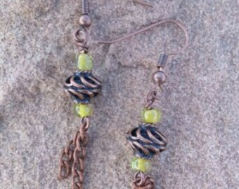 Antique Copper Spiral Earrings - Lime