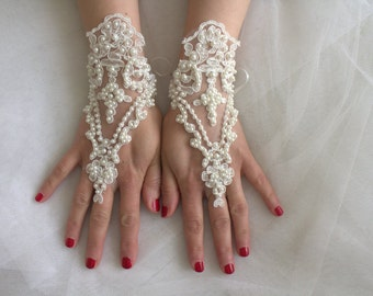 wedding, bridal gloves, ivory pearls lace, custom lace style, french lace, Free shipping.