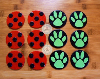 12 x Edible fondant Miraculous Ladybug and Cat Noir inspired cupcake toppers