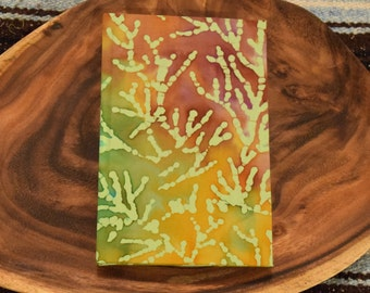 Hand Bound Journal with Tie Dye Coral Fabric Cover
