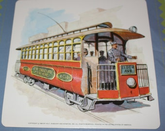 Large Vintage Flash Card - Red Trolley Car -Vintage Trolley Car Picture - 1960's