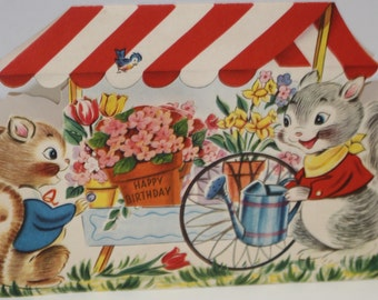 Vintage Get Well or Happy Birthday  Soon Die-Cut Card from the 1940's -Squirrels and Flower Cart - UNUSED