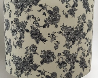 Black and grey roses on cream background Lampshade