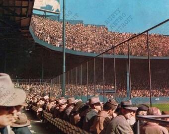 Vintage Detroit Postcard Print: Navin Field (Tiger Stadium)