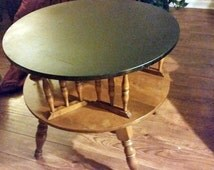 Vintage Ethan Allen Table -  Solid Maple Revolving Drum Table = Nutmeg and Black Mid century table
