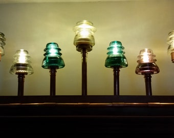 Steampunk Electric Lamp made of Copper/Mounted in Cherry Wood/LED Lights/Railroad Insulators