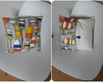 """Cushion """"fishing floats"""" patterned multicolored"""
