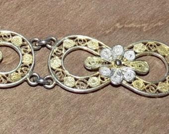 800 Silver Filligree gold washed bracelet