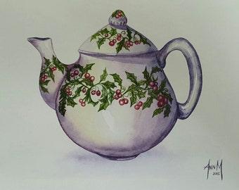 Teapot Art. Original Watercolor Painting.