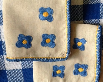 Small Cotton Napkins with Royal Blue & Yellow Embroidered Flowers and Border - Set of 6 - Afternoon Tea