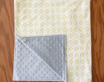 Yellow and Grey Minky Baby Blanket