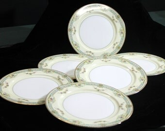 Meito China - Set of Six Dinner Plates - Cream with Roses