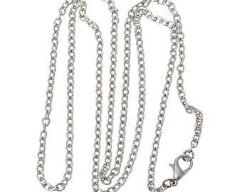"Silver Plated Chain Necklaces / Finished Silver Chain Necklace / 18"" 24"" 30"" inch chain / Cable Link Chain / 4x2mm / Wholesale chains"