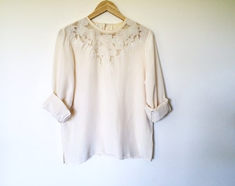 vintage 100% silk blouse shirt top