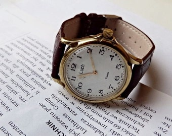 Soviet watch, Vintage  watch Luch, made in USSR, men's soviet watch , Vintage watch, Russian watch, leather strap new