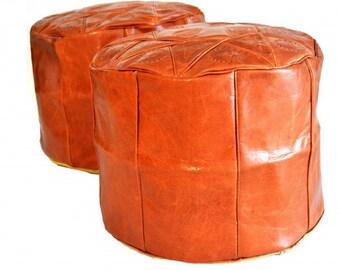 Set of 2 MORROCAN cow LEATHER POUF - Leather footstool - small footstool - vintage footstool - morrocan pouf - ottoman pouf - pouffe