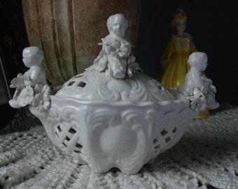 Vintage Italian Ceramic/Porcelain Trinket Dish, Cherubs, Flowers, Lattice