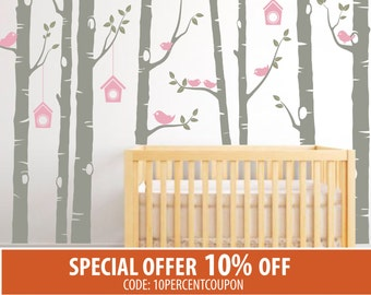 Birch Tree Decal, Birch Tree Wall Decal Baby Nursery Wall Decals, Nursery Wall Stickers, Girls Nursery, Boys Nursery