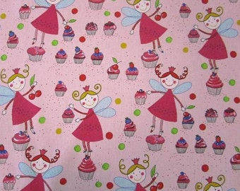 cotton fabric cupcakes-fairy muffins dots light pink colourful sweet