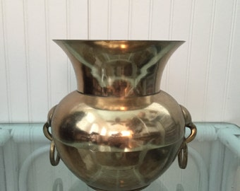 Brass Vase with Ring Pulls