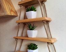 Hanging triangle shelf natural modern finish hemp rope shelf