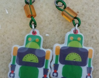 Cute beaded robot earrings