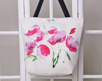 Handmade digital printed beach bag - watercolour pattern print - stylish beach bag POPPY