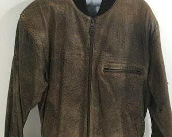 Vintage Clockhouse Biker-style pure. raw leather jacket