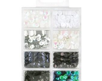 Box paillettes Kit 7mm 25/Pkg-Black & White Classic