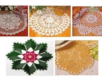 5 pcs crochet doily pattern-only diagram-in pdf-39