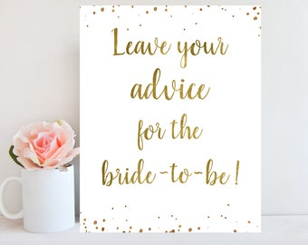 Printable Advice Sign, Bridal Shower Advice Card, Leave Advice For the Bride To Be, Bridal Shower Game, Gold Confetti,Instant Download BRSG1