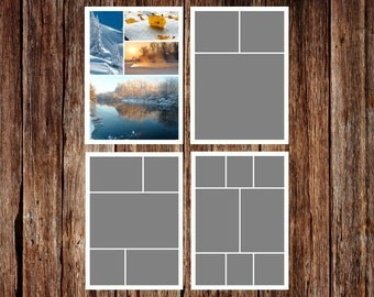 INSTANT DOWNLOAD - Storyboard Template, Photo Collage Template - 5 x 7 - Template Pack - No.3