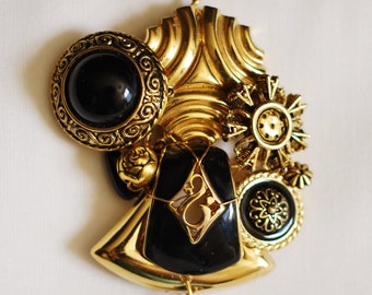 Pendant in Black and Gold Repurposed Parts