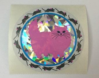 Vintage Sandylion Prismatic Pink Cat Mouse Sticker