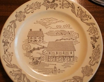 Buck's County Dinner Plate - Royal China, Sebring, Ohio