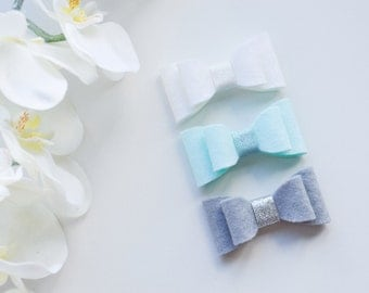 LILY HAIRBOW SET • 100% Wool felt bow(s) attached to hairclip(s)/headband(s) •