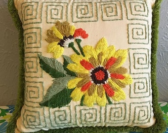 Vintage crewel work throw pillow