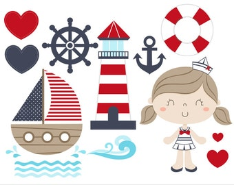 Sailor Girl Digital Clipart Vector - Personal and Commercial Use - Marine and red, Cute navy art - C002