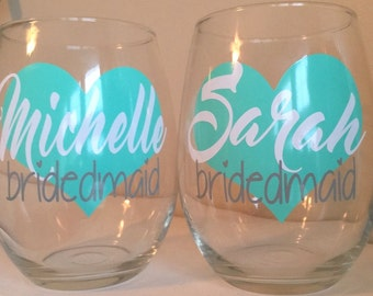 Personalized Wine Glasses, Bachelorette Party, Bridal Party Wine Glasses, Bridesmaid Gift, Bridal Party Gifts, Bridesmaid Proposal