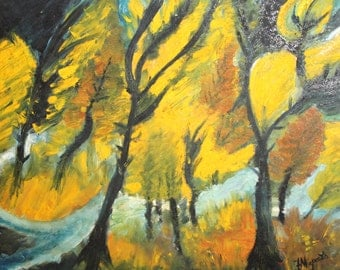 Landscape Forest oil painting signed