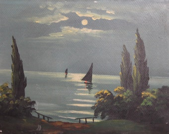 Antique oil painting night landscape