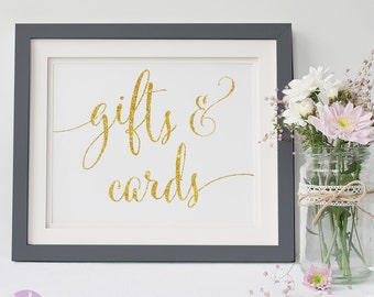 Wedding Gifts and Cards Sign | Gold Handwritten | Wedding Signage